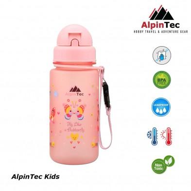 AlpinTec Παγούρι Kids 400Ml Πεταλούδα Με Καλαμάκι ροζ  C-400FL-BU