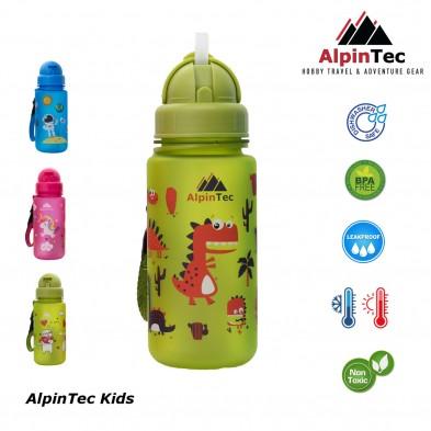 AlpinTec Παγούρι Kids 400Ml Δεινόσαυροι Με Καλαμάκι λαχανί  C-400GN-1