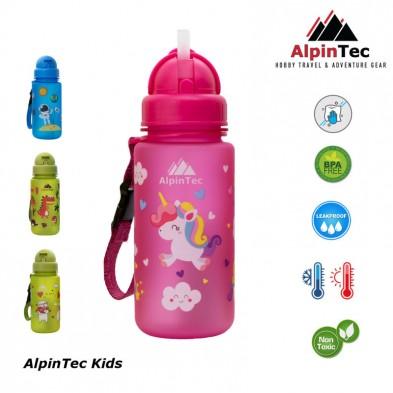 AlpinTec Παγούρι Kids 400Ml Μονόκερος Με Καλαμάκι ροζ C-400PK-3