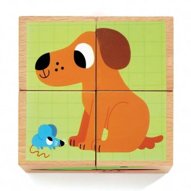 Djeco 4 ξύλινοι κύβοι - παζλ 'Σκυλάκι' 01903
