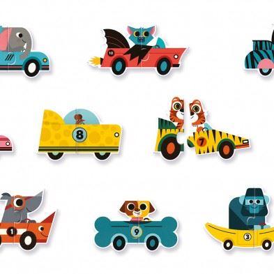 Djeco 10 Παζλ Duo 'Αγωνιστικά αυτοκίνητα'  08148