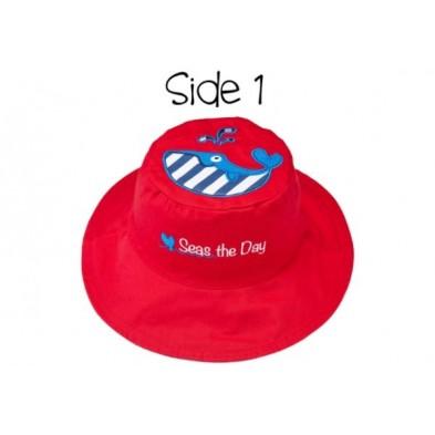 FlapJackKids  Καπέλο Διπλής Όψης UPF 50+ – Φάλαινα (Cotton) LUV0146