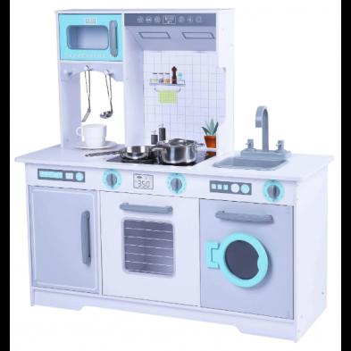 GERARDO'S Κουζίνα ξύλινη Stella με ψυγείο και πλυντήριο (λευκό). 93,5 x 59,5 x 96
