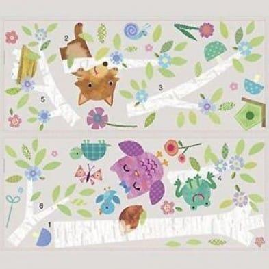 "Room Mates Αυτοκόλλητα τοίχου ""Δέντρο λευκό με κουκουβάγιες & αλεπούδες"" RΜΚ2777"