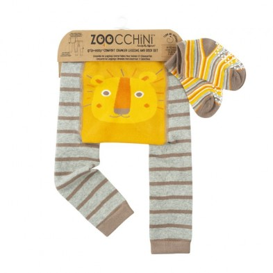 "Zoocchini  Σετ Ρούχων για Μπουσούλισμα Grip+Easy Crawler Pants & Socks Set ""Leo the Lion"" ZOO12511"