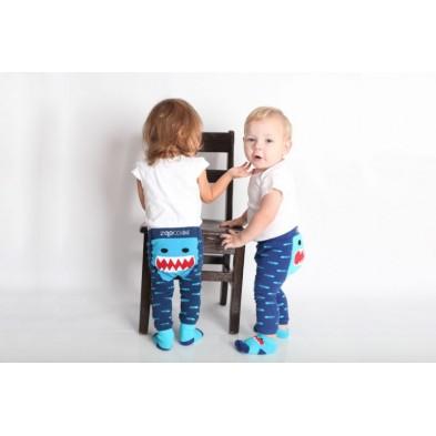 "Zoocchini  Σετ Ρούχων για Μπουσούλισμα Grip+Easy Crawler Pants & Socks Set ""Sherman the Shark"""